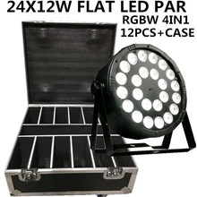 12 шт/24X12 W светодиодный PAR+ кейс RGBW 4in1 PAR огни/disco лампы DMX светодиодный мыть свет сценический Профессиональный dj оборудование