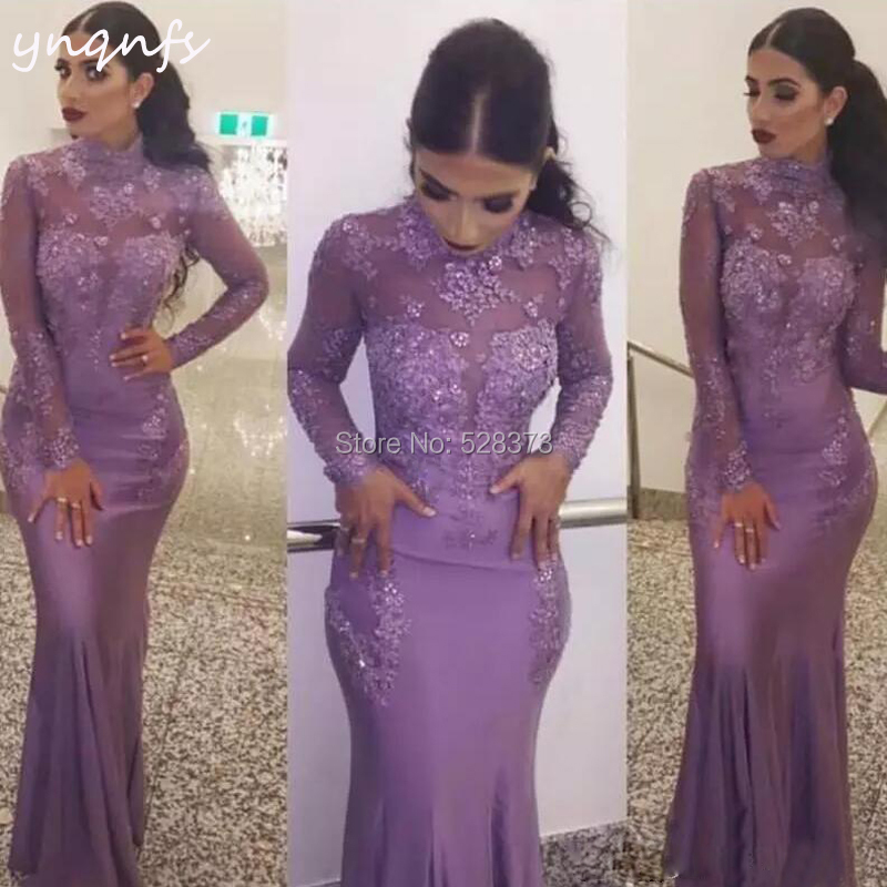 High Neck Long Sleeve Sexy Mermaid Robe Vestido Formal Dress Women Elegant Spandex Jersey Lilac Bridesmaid Dresses YNQNFS ED243