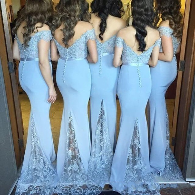 Hot New Arrival Custom Made Light Blue Satin Lace Applique Open V Back Cap Sleeves Long Bridesmaid Dresses For Wedding Party