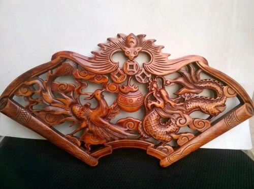 Chine sculpté à la main DRAGON et phénix camphre plaque de bois SCULPTURE murale NR