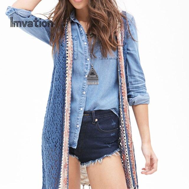 Imvation blusas femininas 2017 New Autumn Women knitting sleeveless Open Stitch Vest Tassel Shirts Casual multicolor vest