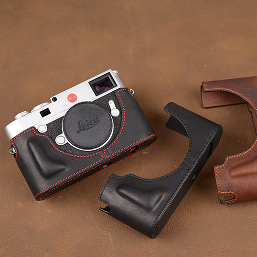 EDMTON Brand Genuine Leather Camera Case Handmade Half Body Bag Bottom Cover For Leica M10 Open Battery Design цена