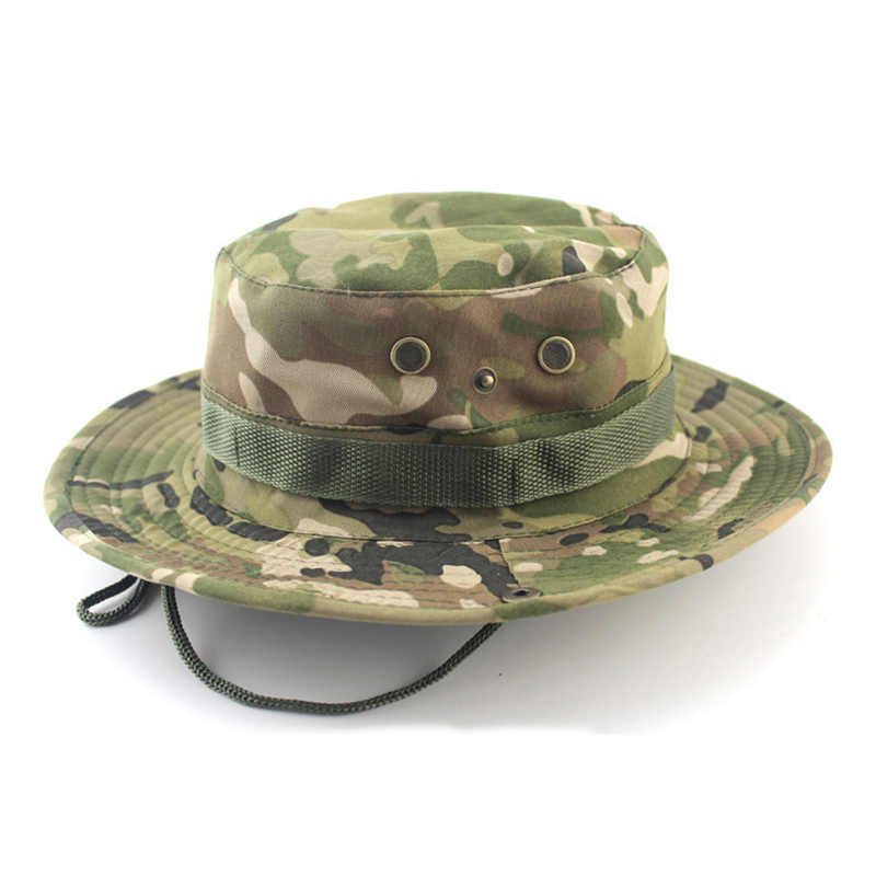 bf18fc18bd64c Women Men Casual Camouflage Bucket Hat With String Summer Fisherman Cap  Military Panama Safari Boonie Outdoor