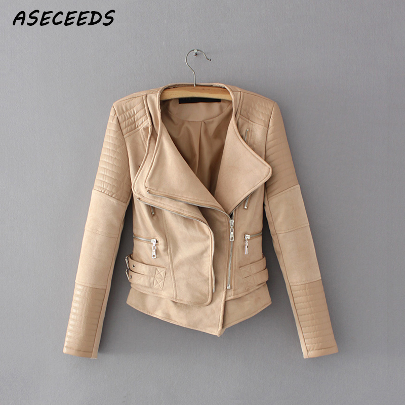 Faux   leather   jacket women spring zipper ladies   suede   motorcycle coat punk biker jackets 2018 Street long sleeve biker jacket