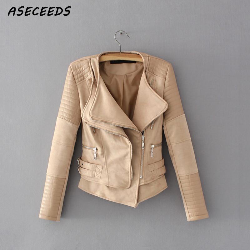 Faux   leather   jacket women spring zipper ladies   suede   motorcycle coat punk biker jackets 2019 Street long sleeve biker jacket
