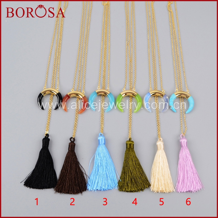 BOROSA Blue Howlite Stone Horn Rainbow Tassel Necklace, Mix Color Gold Color Druzy Stone Tassel Necklace for Women G1233