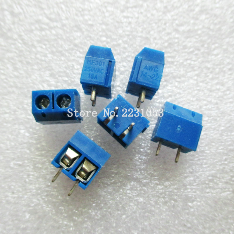 20PCS/LOT KF301-2P KF301-5.0-2P KF301 Screw 2Pin 5.0mm Straight Pin PCB Screw Terminal Block Connector 5 pcs 400v 20a 7 position screw barrier terminal block bar connector replacement
