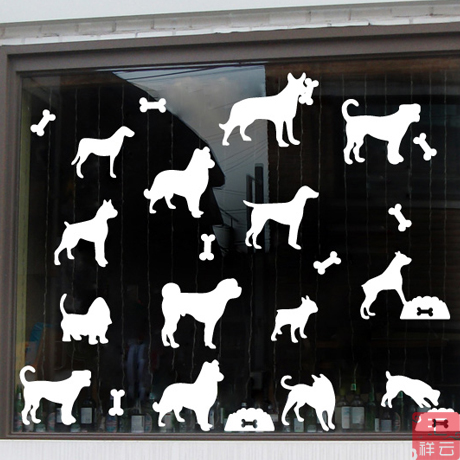 Pet Shop Pet Grooming Decorative Landscaping Window Glass Door Stickers  Window Stickers Affixed Grilles Decals Dog