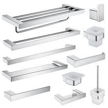 Bath Hardware Set Stainless Steel Towel Shelf Roll Paper Holder Wall Mounted Toothbrush Holder Toilet Brush Holder Silver Color phasat q7 005 wall mounted stainless steel toilet paper holder silver