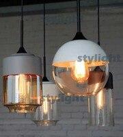 Стекло подвесной светильник современный подвесной светильник столовая отель кафе бар ресторан освещение Винтаж свет черный белый серый