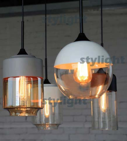 Glass Pendant Lamp MODERN PENDANT LIGHT dinning room hotel cafe bar restaurant lighting vintage light black white gray