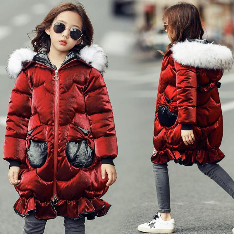 2018 Kids Down Jackets Girls Long Winter Coat New Teenagers Cotton Down Jacket Child Thick Coat Girls Outerwear & Coats Snowsuit 2013 new mens jackets hip hop outdoors sport cotton the winter coat snow jacket down
