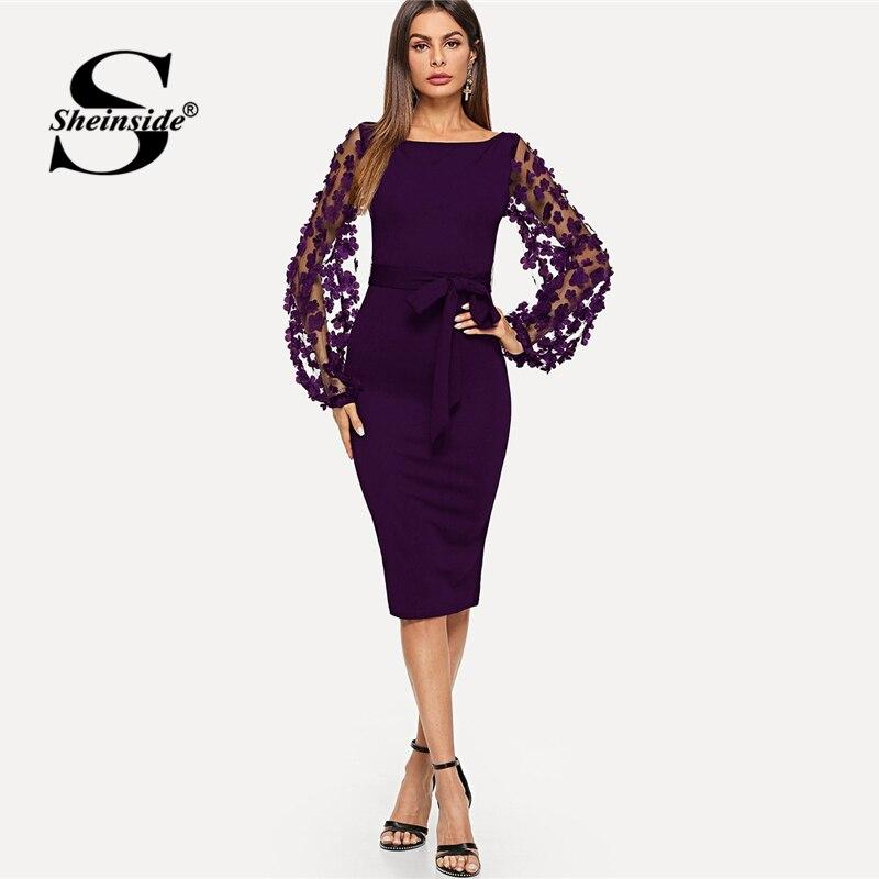 Sheinside Lila Elegante Bodycon Kleider Für Frau Party Kleid Blume Applique Mesh Sleeve Passende Form Frauen Midi Kleid