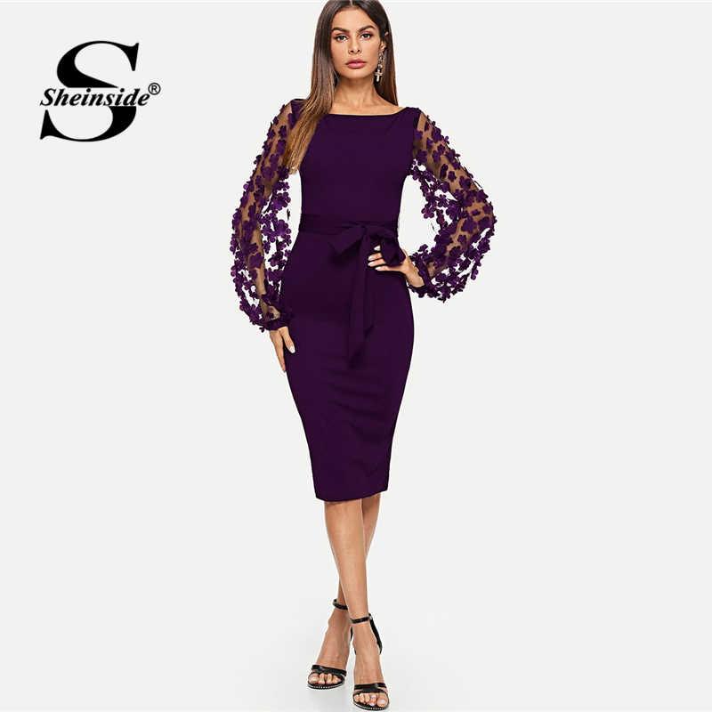Sheinside фиолетовые элегантные облегающие платья для женщин вечерние платья с цветочной аппликацией сетчатые рукава облегающие Женские миди платья
