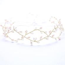 Fashion Hexagon Pattern Gold Pearl Wedding Bridemaid Headbands Fashion Pearl Ribbon Girl Hair jewelry White mini Beads Tiara