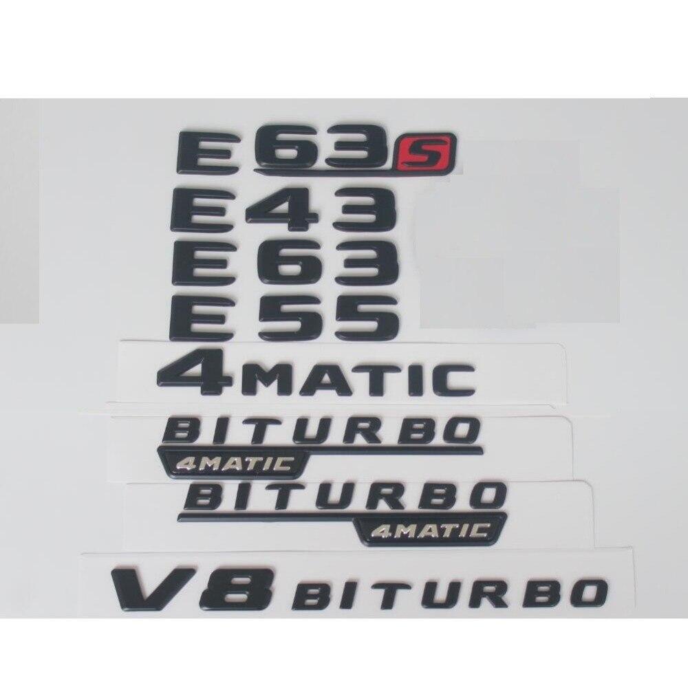 Flache Matt Schwarz Stamm Buchstaben Anzahl Abzeichen Emblem Embleme Abzeichen für Mercedes Benz E43 E63 E63s E55 V8 BITURBO AMG 4 MATIC