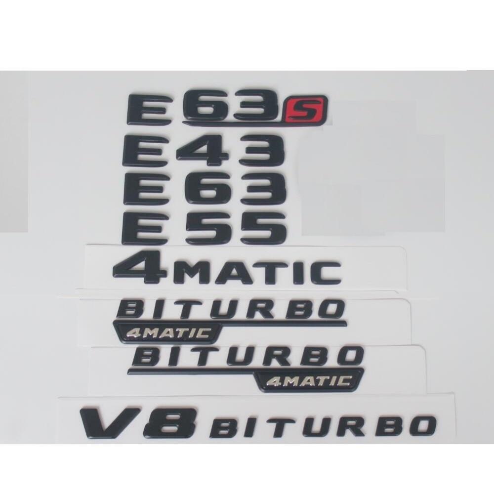 Plat Noir Mat Tronc Lettres Nombre Badge Emblème Emblèmes Badges pour Mercedes Benz E43 E63 E63s E55 V8 BITURBO AMG 4 MATIC