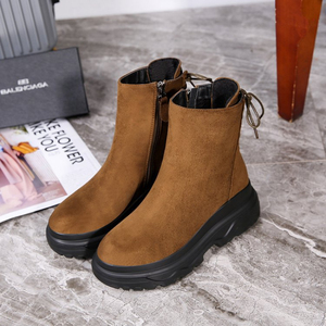 Image 4 - SWYIVY Ankle Boots Women 2019 Winter Black Boots Woman Casual Shoes Plush Platform Snow Boots Women Martin Shoes Female Sneakers