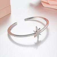 Famous 925 sterling silver zircon star cuff bangles for women 2018 Monaco summer fashion adjustable pulseiras bracelet bangles