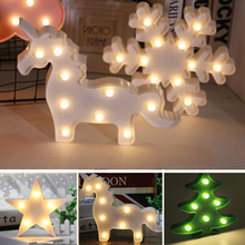 Battery Powered Cute LED Unicorn Night Lights Marquee Sign  Cactus Star Snowfake Luminary Wall Lamp Festival Holiday Decoration
