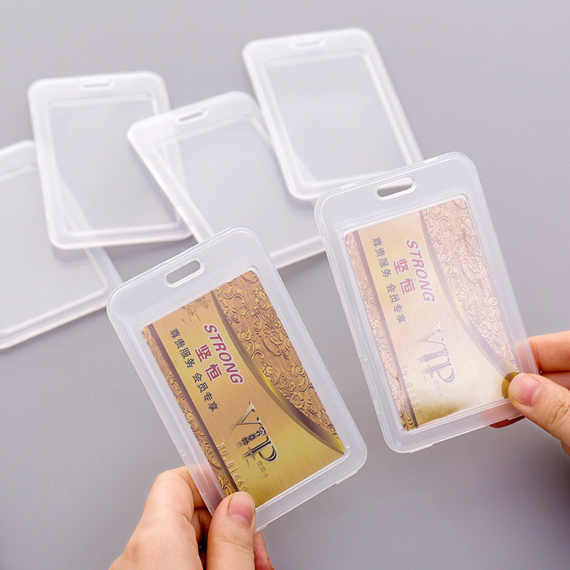 Simple Transparent Plastic Card Holder Keyring Sleeve Set Bank Card ID Card Bus Card Holder Case Bag Cover