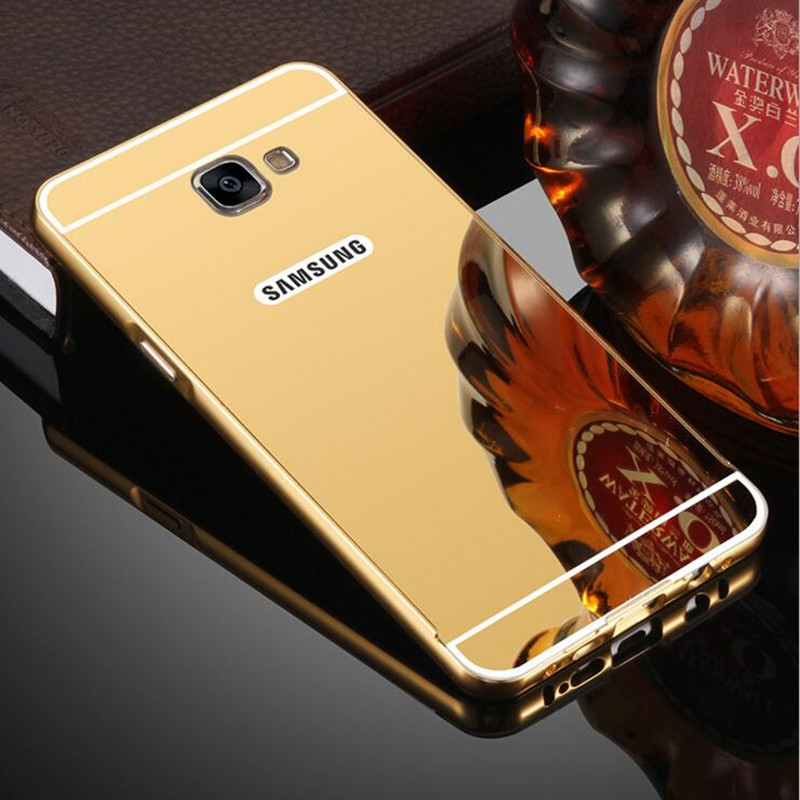 For Samsung Galaxy A3 A5 A7 J1 J3 J5 J7 2016 2017 Grand Prime Plating Aluminum Frame+Mirror Cover For Samsung S4 S5 S6 S7 S8