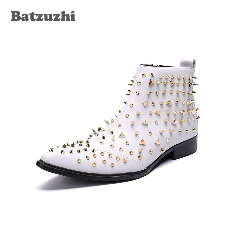 Batzuzhi Bottes Hommes Cheville Main Cuir Pointu En Bout Zapatos De Noce Rivets Hombre Blanc 53RLAj4