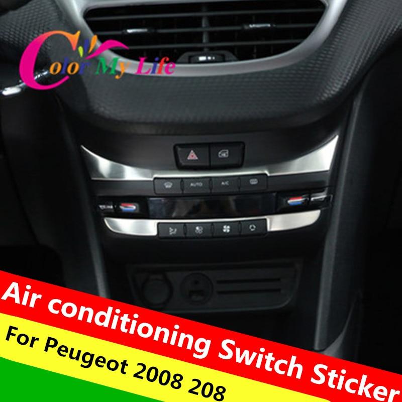 2Pcs Internal Air Conditioning Vent Trim Sequins Sticker for 2008 208 Accessories