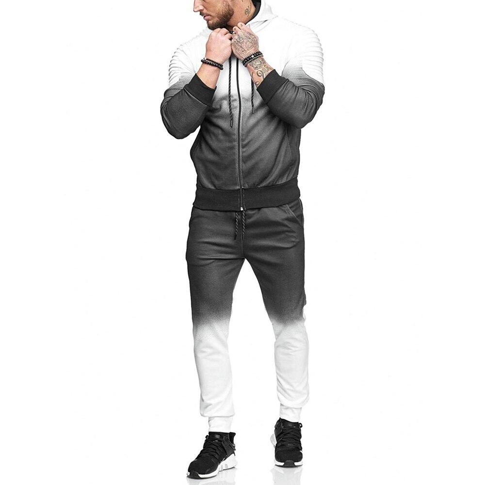 Haute qualité mode gymnases fitness hommes ensembles vêtements de sport survêtements ensembles décontracté rayé Hoodies + pantalon veste décontractée costumes