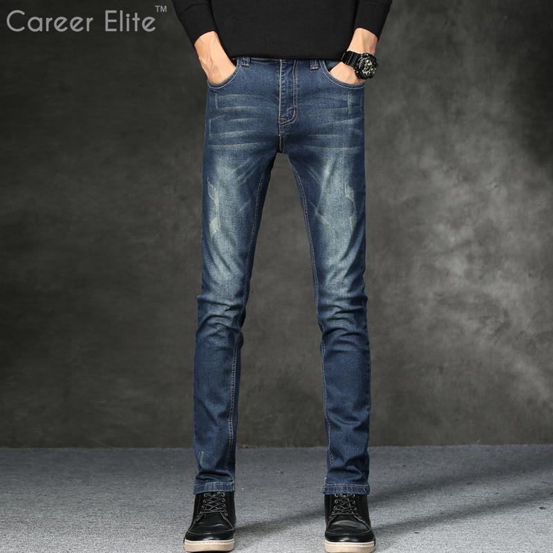 Mens Jeans Classic Direct Stretch Blue Jeans Men Business Casual Denim Pants Slim Scratched Long Trousers Gentleman Cowboys