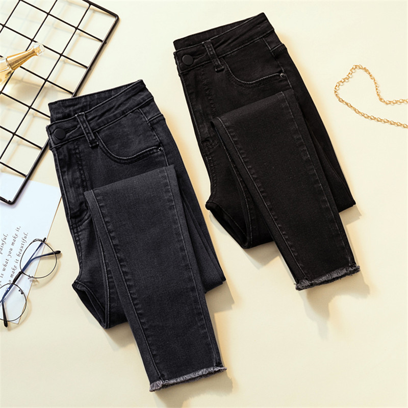 JUJULAND Vintage Mom Fit High Waist Jeans Elastic Femme Women Washed Black Denim Skinny Jeans Classic Pencil Pant Plus Size8255