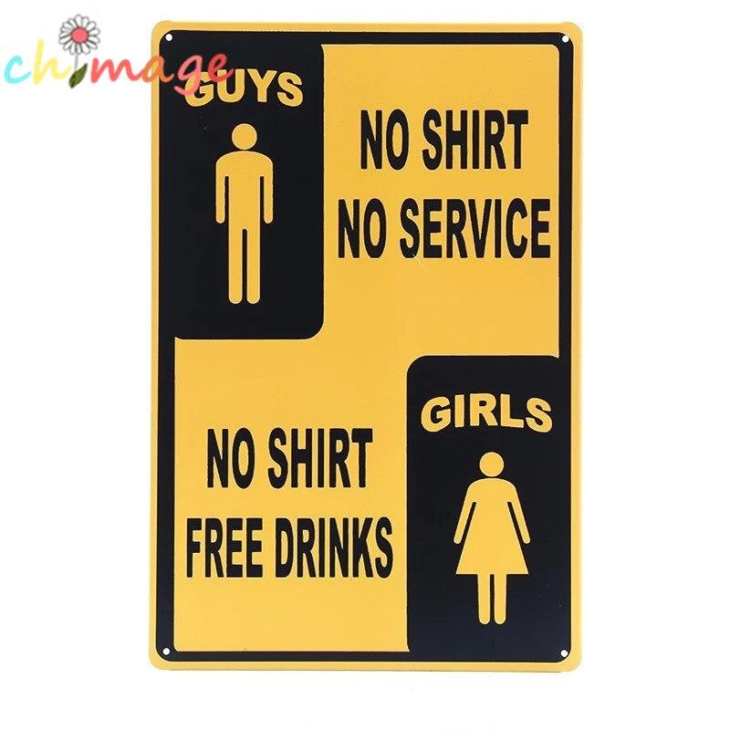 HOMENS SEM CAMISA NO SERVIÇO MENINAS SEM CAMISA BEBIDA LIVRE Do Vintage  Sinal da lata Bar pub casa Wall Art Decor Retro Poster Metal 4ac187032a