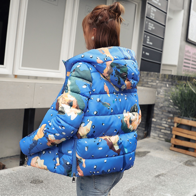 2019 Fashion Parka Winter Jacket Women Print Women's Jackets Short Warm Hooded Winter Coat Women