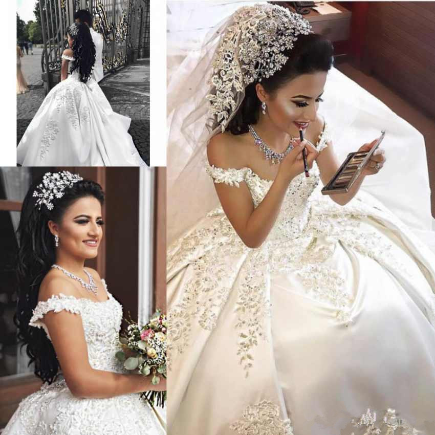 2019 luxury Arabic Ball Gown Wedding Dresses Satin Off Shoulder Illusion Lace Applique Crystal Beaded Plus
