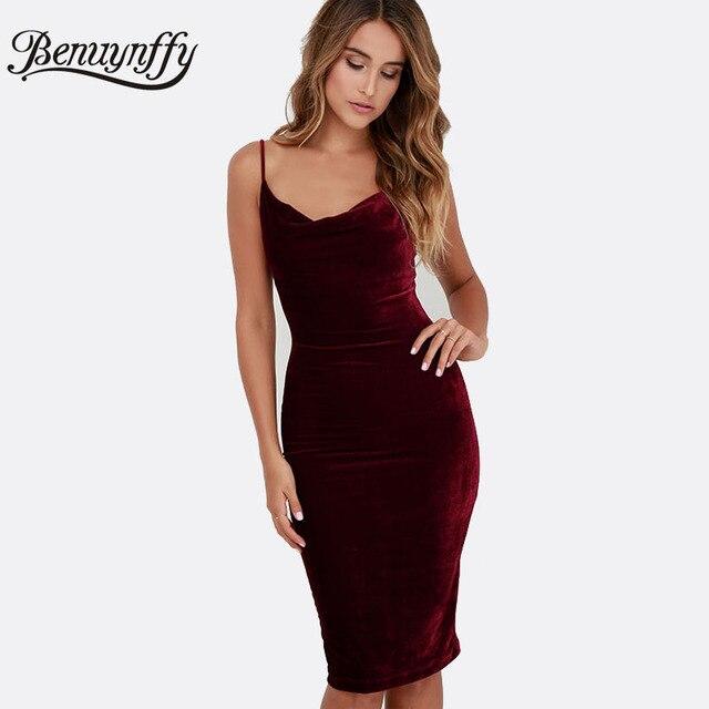 Benuynffy женщин сексуальный спагетти ремень миди платья элегантный сплошной Velvet Club Party спинки цельный Bodycon платье карандаша Q856