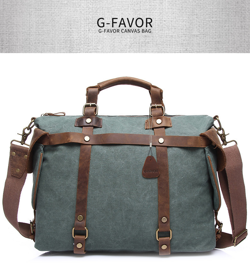 ea521e3b6c50 G-FAVOR Vintage Handbag Men Canvas Crazy Horse Leather Business Messenger  Bag Male Casual Luxury Brand Travel Bags