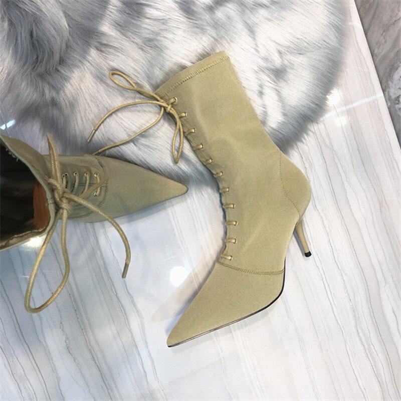 Pointu Mince Tissu Black Mode Élastique Noir Lacent Chaussette Femme Bout Courtes Kaki khaki Talons Haute Chaussures Sexy Bottes Femmes Stretch wUU5Eqz