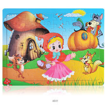 Wooden 60pcs 3D Puzzle Cartoon Fairy Tales Girls Princess Animals Jigsaw Education Toys For Children Baby Wood Puzzles Game Gift(China)