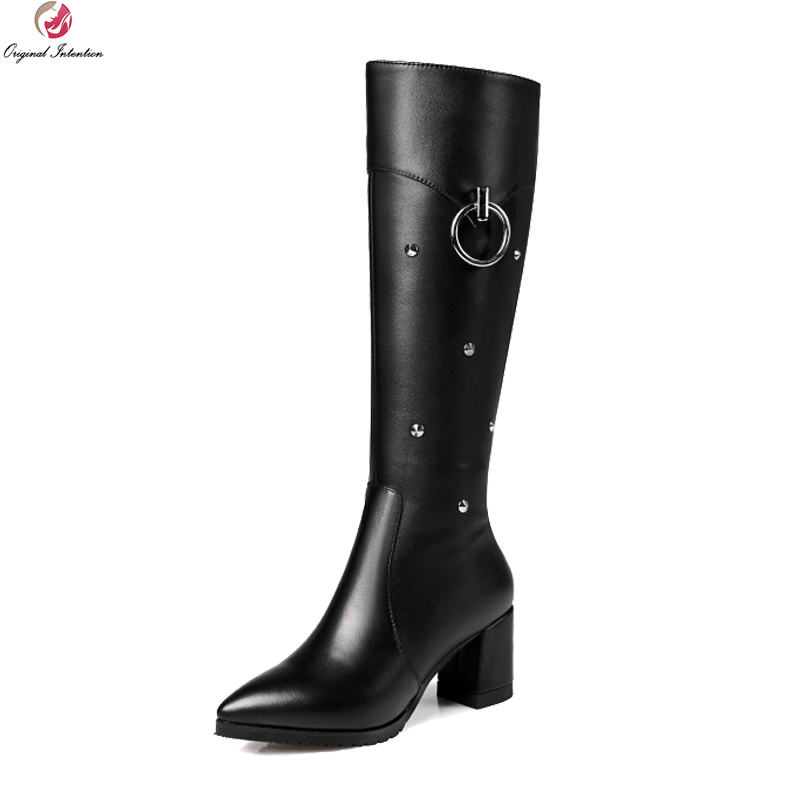Original Intention Elegant Women Knee High Boots Fashion Rivets Pointed Toe Square Heels Boots Black Shoes Woman US Size 3-13 original intention women over the knee boots fashion pointed toe wedges winter boots fashion black shoes woman us size 3 5 13
