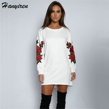 2017 Autumn Winter Sweatshirts Floral Embroidery New Style Western Style Full Sleeve Women Tops Rose Drop-shoulder Pullovers