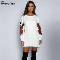 2017 Autumn Winter New Style Floral Embroidery Sweatshirts Western Style Full Sleeve Women Tops Rose Drop