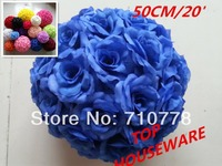 20'/50CM 16C available artificial rose flower ball wedding flower ball kissing ball wedding supermarkdet deoration hangings