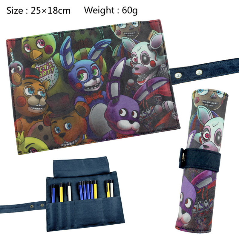 Five Nights at Freddy's FNAF Bear Fox Reel Scroll Style Pencil Stationary Storage Wallet Bag Boys Girls Gift