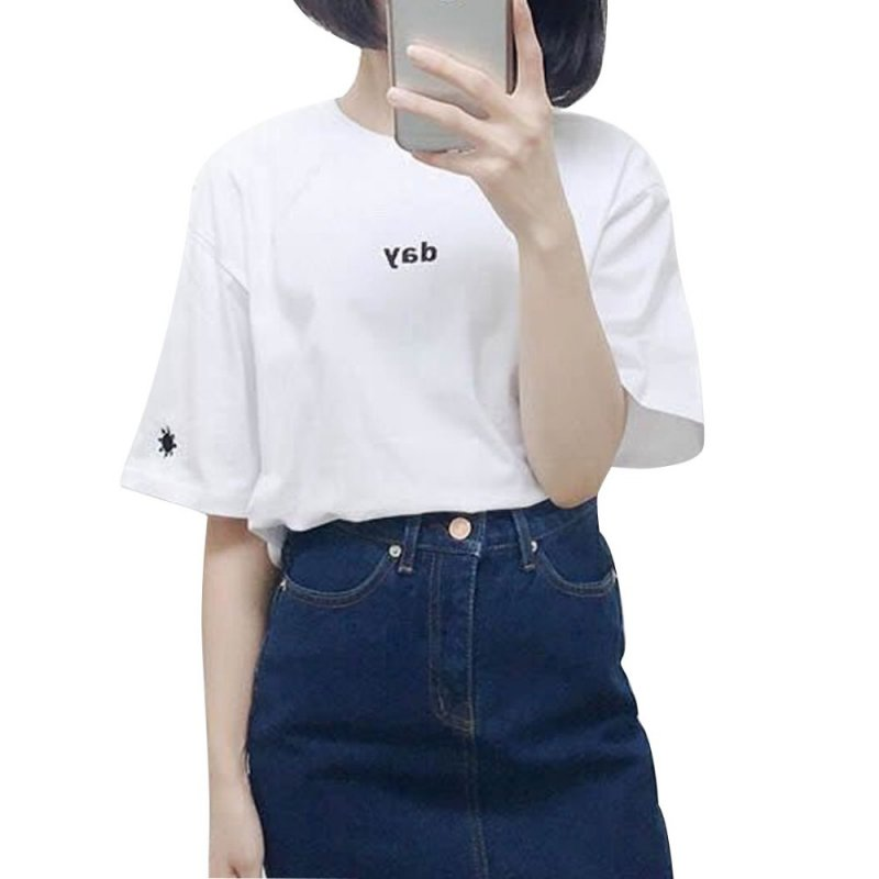 קיץ נשים חולצת טריקו בסגנון harajuku יום ולילה רקמה נקבה חולצת טריקו שרוולים קצר