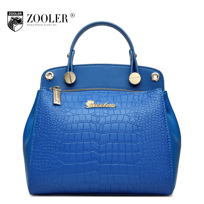 ZOOLER Genuine Leather Handbag 2017 Winter Casual Luxury Handbags Women Bags Designer Brand Crocodile Pattern Tote Shoulder Bag luxury genuine leather bag fashion brand designer women handbag cowhide leather shoulder composite bag casual totes