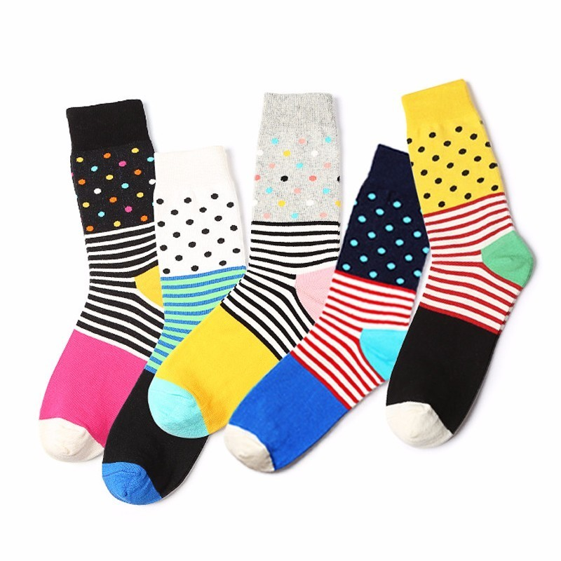 PEONFLY Wave Hit color Stripe Pattern Happy Pure Cotton funny novelty Socks colorful men Winter Autumn