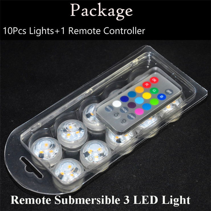 12 Pieces/Lot Super Bright RGB Colors Submersible Led Tea Light Candle Holder with Remote Controller for Glass Vase ...