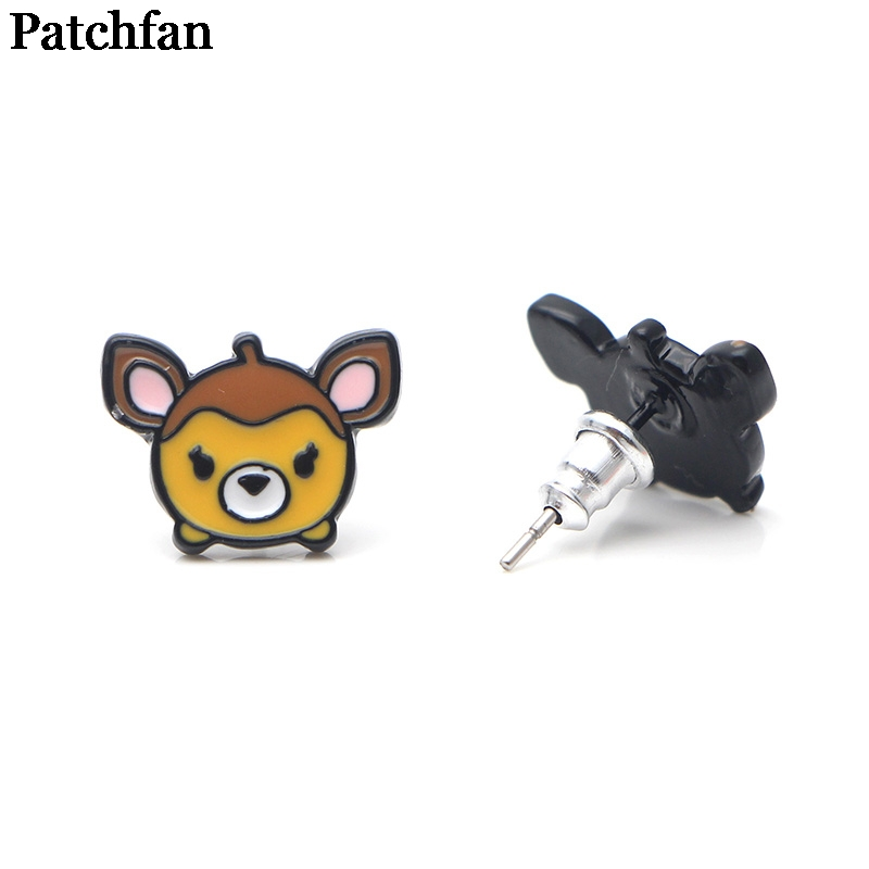 Patchfan Bambi cartoon trendy charm design stud earrings party favors jewelry gifts for girlfriend for birthday present A1978 in Party Favors from Home Garden