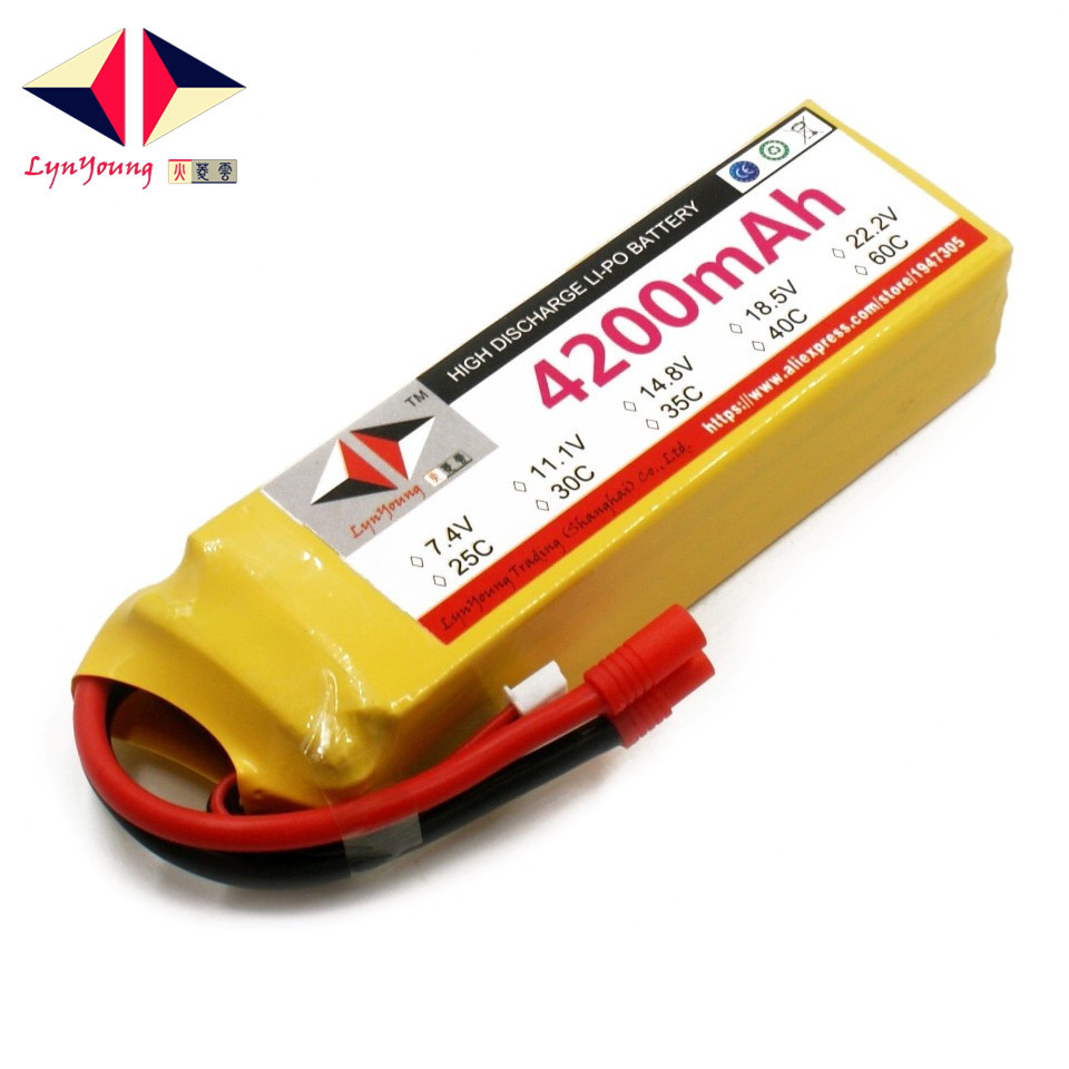LYNYOUNG lipo battery 4200mAh 14.8V 30C 4S for RC airplane UAV Quadcopter Truck Car Helicopter RechargeableLYNYOUNG lipo battery 4200mAh 14.8V 30C 4S for RC airplane UAV Quadcopter Truck Car Helicopter Rechargeable
