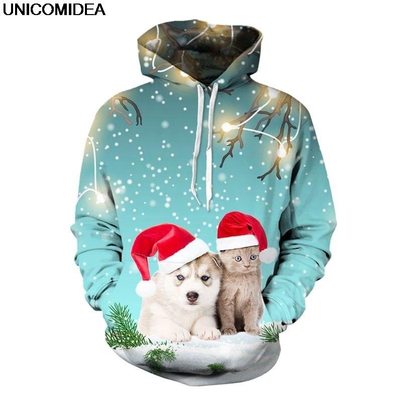 Vánoční santa claus 3d mikiny mikina muži ženy pulovry ufo kočky ... 2ef1891b393